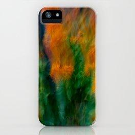 Fleur Blur-Abstract Orange Safflowers & Green Leaves iPhone Case