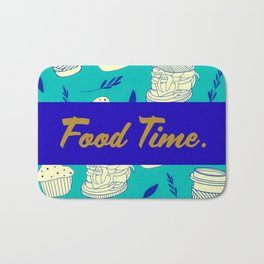 Blue Food Time Pattern Bath Mat