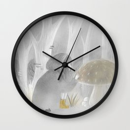Into the woods with yellow boots Wall Clock