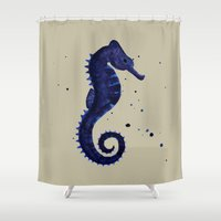 sea horse Shower Curtains featuring Sea Horse by Chrystal Elizabeth