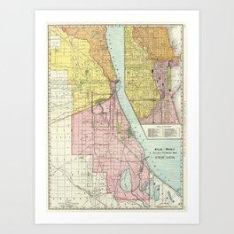 Vintage Chicago Railroad Map (1897) Art Print