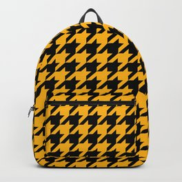 Houndstooth: Black & Gold Checkered Design Backpack