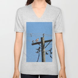Red Tailed Hawk on Telephone Pole 3 Unisex V-Neck
