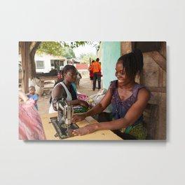 Liberian Woman Sews Metal Print