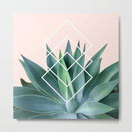 Agave geometrics - peach Metal Print