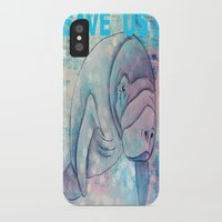 manatee iPhone & iPod Cases featuring Whimiscal Manatee by Judy Skowron