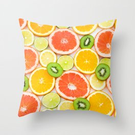 oranges ,grapefruit,kiwi, lemon and other fruits sliced Throw Pillow