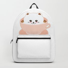 Cute Kawai cat in pink cup Backpack