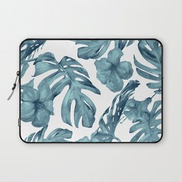 Teal Blue Tropical Palm Leaves Flowers Laptop Sleeve