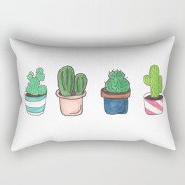 1 Cactus, 2 Cacti, 3 Cacti Four- Watercolor Design Rectangular Pillow