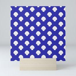 Seashells (White & Navy Blue Pattern) Mini Art Print