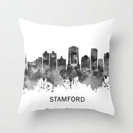 Stamford Connecticut Skyline BW Throw Pillow