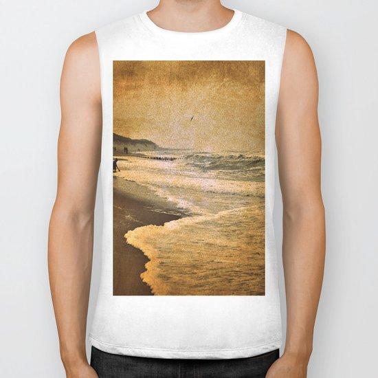 vintage beach sea Biker Tank