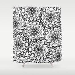 Hand drawn black white floral illustration Shower Curtain