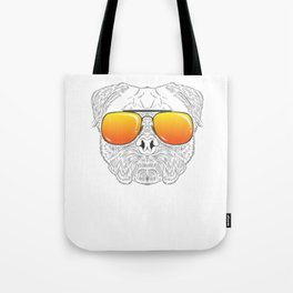 Pug Dog Hairy Face with Sunset Sunglasses Hand Drawn Tote Bag
