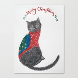 Cat in christmas sweater Canvas Print