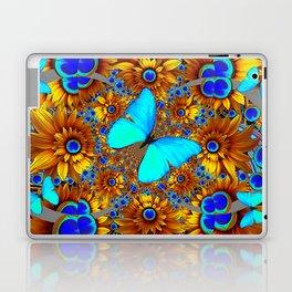 BLUE & GOLD ART DECO BUTTERFLIES & FLOWERS VIGNETTE Laptop & iPad Skin