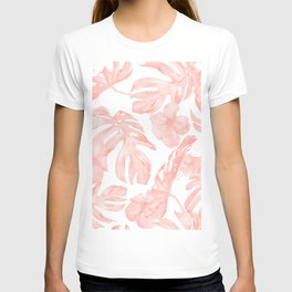 Tropical Palm Leaves Hibiscus Flowers Coral Pink T-shirt