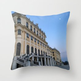 Moon rises at Schönbrunn Palace in Vienna Throw Pillow