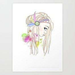 Blonde Indian Girl Art Print