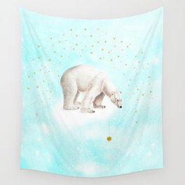 Wish upon a star polar bear Wall Tapestry
