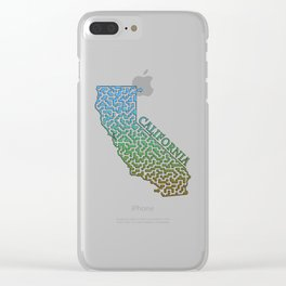 California State Outline Colorful Maze & Labyrinth Clear iPhone Case