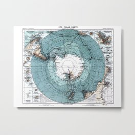 Antarctica Map Metal Print