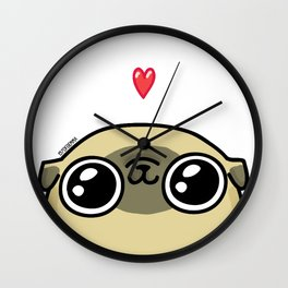 Mochi the pug loves you Wall Clock