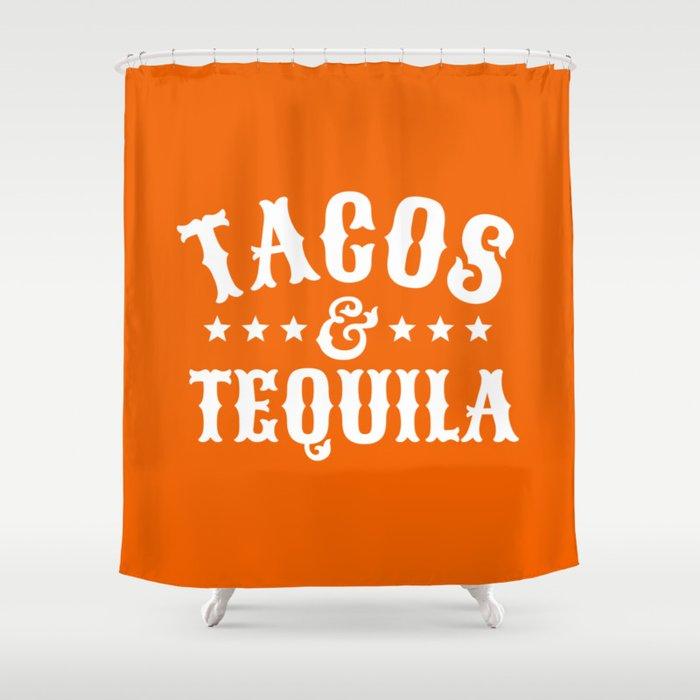 Tacos & Tequila (Orange) Shower Curtain