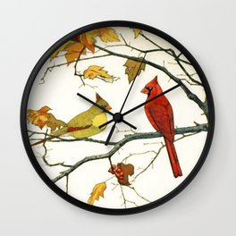 Vintage Japanese Drawing, Cardinals on an Autumn Branch Wall Clock