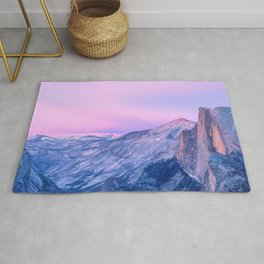 Magnificent Mountain Range And Valley At Romantic Sunset Purple Shade Ultra HD Rug