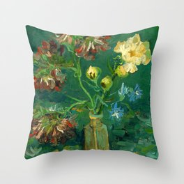 """Vincent Van Gogh """"Small Bottle with Peonies and Blue Delphiniums"""" Throw Pillow"""