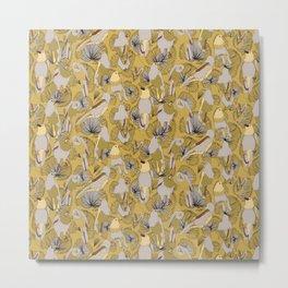 Birds of Prey in Yellow Metal Print