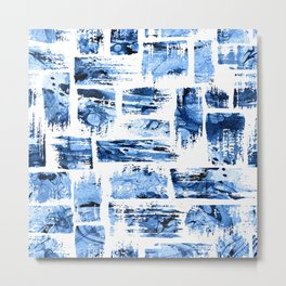 Watercolor blue brush Metal Print