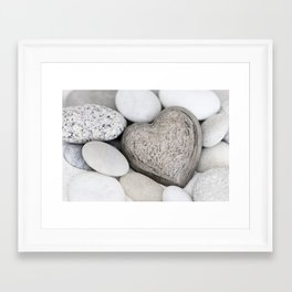 Stone Heart and pebble greige tones Framed Art Print