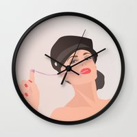 pinup Wall Clocks featuring Pinup by Julie Vicart