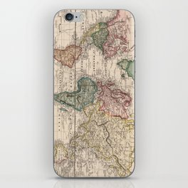 Vintage Map of The World (1833) iPhone Skin