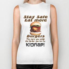Stay Safe Eat More Burgers Biker Tank