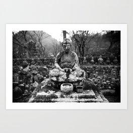 Buddha in the snow Art Print