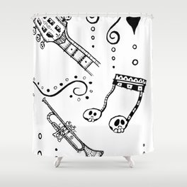 Let's Jam Halloween Music Print Shower Curtain