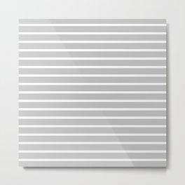 Light Grey and White Horizontal Stripes Pattern Metal Print
