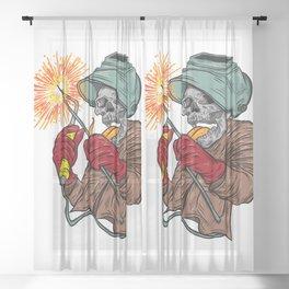Crazy Welder Skull Sheer Curtain