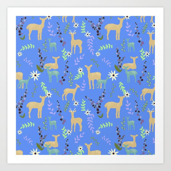 Deer and Flowers Art Print