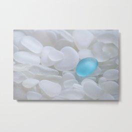 Turquoise Sea Glass Metal Print