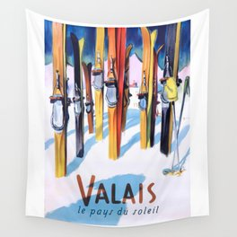 1949 Switzerland Valais Ski Travel Poster Wall Tapestry