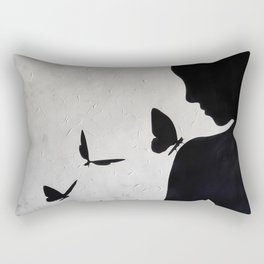 Lady with butterflies Rectangular Pillow