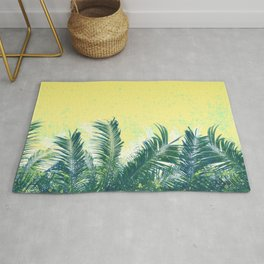 Palm leaves in the wind ( cream yellow ) Rug