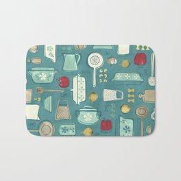 Vintage Kitchen Utensils / Teal Bath Mat