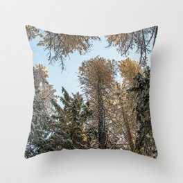 sky trees Throw Pillow