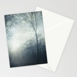 Dark Path - Misty Forest in November Stationery Cards